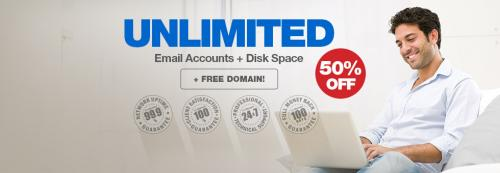 Unlimited Hosting 50% dengan FREE Domain hanya $4.32/bulan