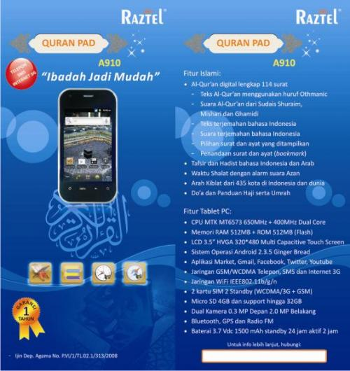 Raztel A910, HP Qur`an 3.5 inch (Dual GSM ON + 3G + Wifi)