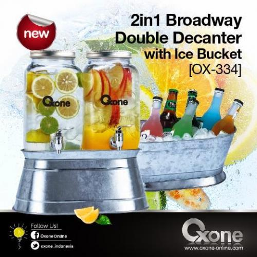 Big Promo Decanter 2 Tabung Juice Jar With Stainless Ice Bucket Oxone OX 334